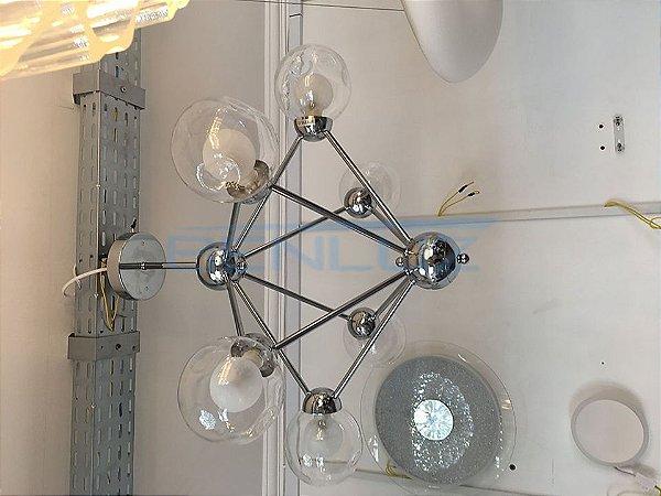 Pendente Metal e Vidro Cromado E27×6