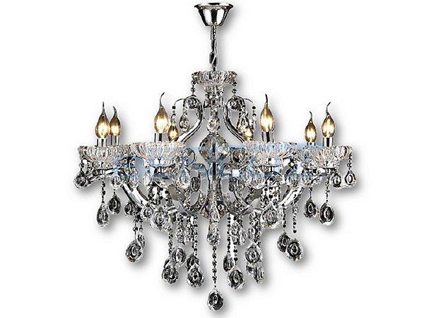 Pendente 92x75cm Cristal e Metal Cromado E14×12