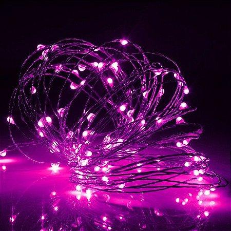 Cordão de cobre 100 LEDs fio de fada 10 metros rosa pilha