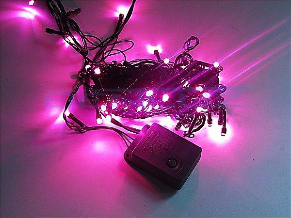 Cordão sequencial 100 LEDs Fio Verde 9,7 Metros Rosa 127V