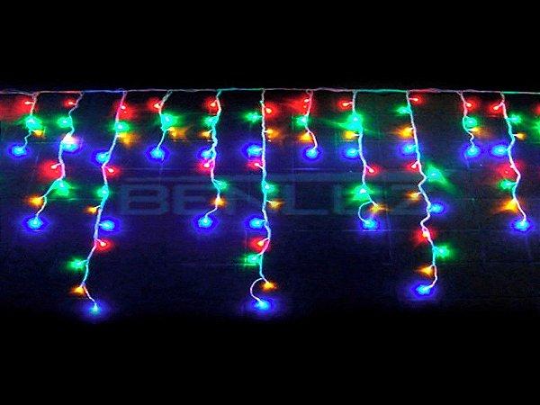 Cascata sequencial 200 LEDs Fio Branco 5 Metros Colorido 110V