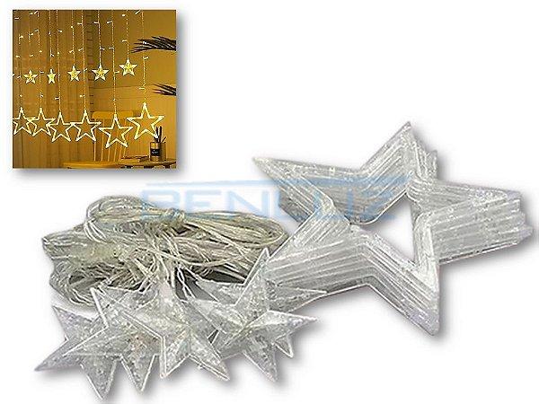 Cascata Sequencial de Estrelas 138 LEDS com 8 Funções Branco Quente 127v M/F