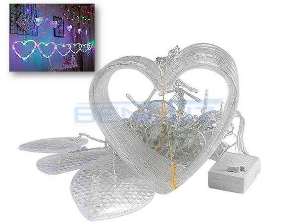 Cascata Sequencial de Corações 138 LEDS com 8 Funções colorida 110V