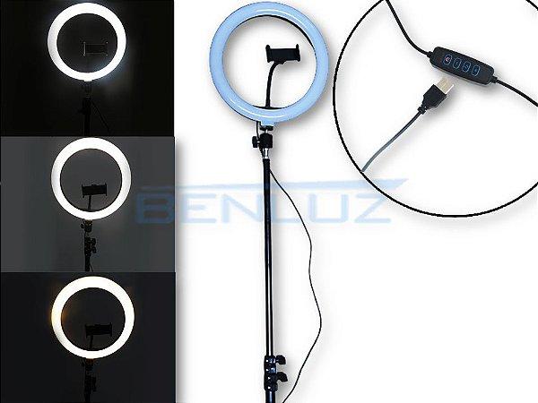 Luminária 12W Ring Light Tripé Dimerizavel Tamanho regulável Até 210cm