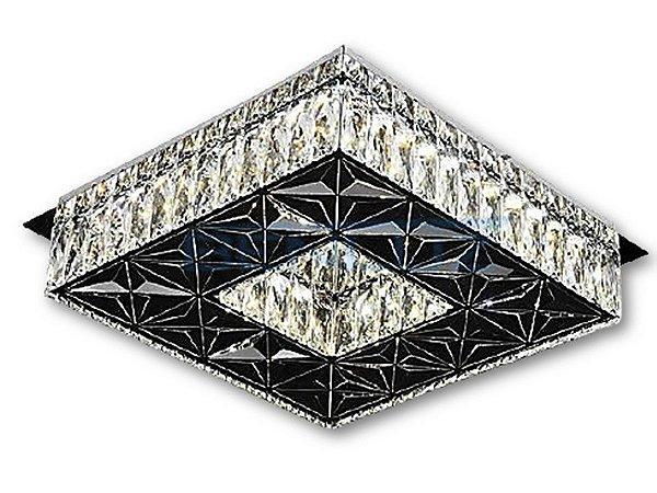 PLAFON QUADRADO 35CM CRISTAL LED 32W 6000K BIVOLT