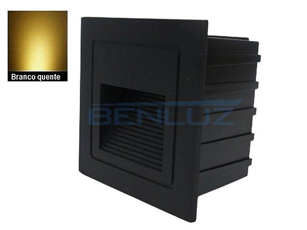 Balizador Externo de embutir Preto de LED 2W Branco quente Bivolt