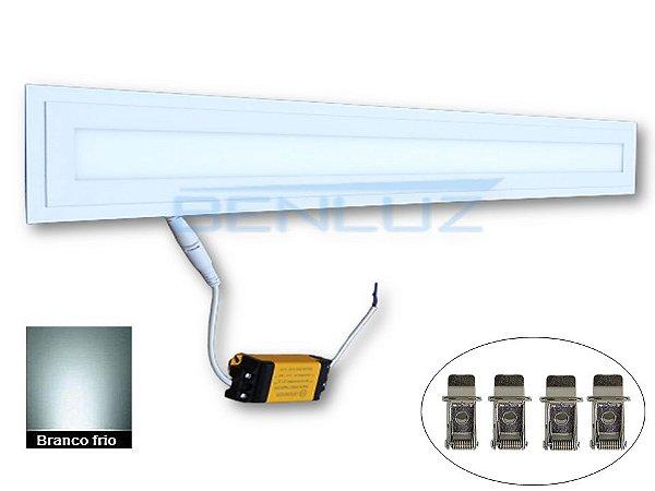 Luminária Plafon LED 12W Retangular Embutir 8,5x62cm Branco Frio 6000K