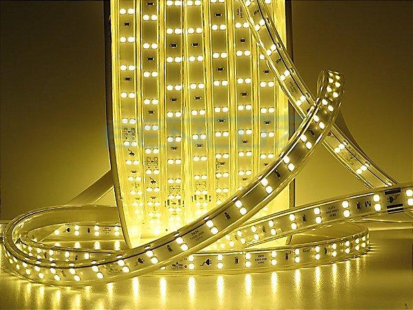 Mangueira chata dupla LED 12,5W/M Branco Quente com silicone por metro 127V