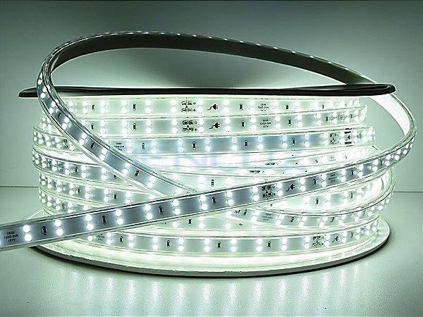Mangueira chata dupla LED 12,5W/M Branco Frio com silicone por metro 127V