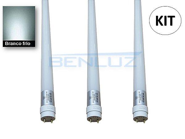 KIT 3 Lâmpadas LED Tubular 18W 1,20cm T8 Branco Frio 6500K