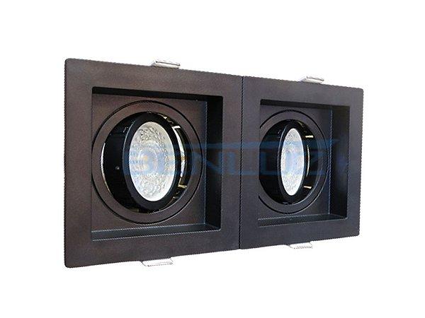 Spot Recuado Duplo Preto Para Mini Dicroica MR16 LED Medidas 20x10cm Branco Quente