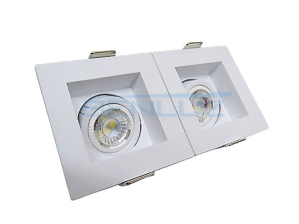 Spot 8W Recuado Duplo Branco Para Mini Dicroica MR11 LED Medidas 07 x 14cm
