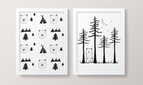 Conjunto de Quadros - Floresta Nórdica