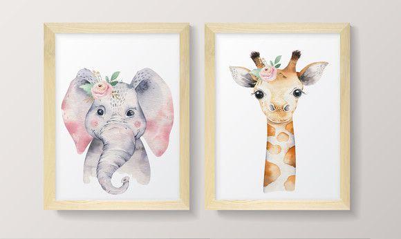 Conjunto de Quadros - Girafinha e Elefantinha