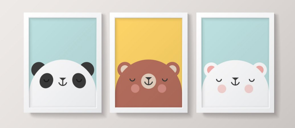 Conjunto de Quadros - Urso Escandinavo Náutico