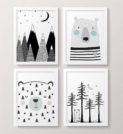 Conjunto de Quadros - Urso da Montanha