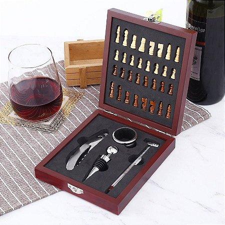 Kit Abridor de Vinho com Maleta e Jogo de Xadrez