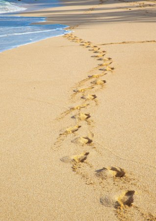 Passos na areia no Hawaii