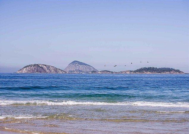 Paisagem da manhã na praia de Ipanema com pássaros