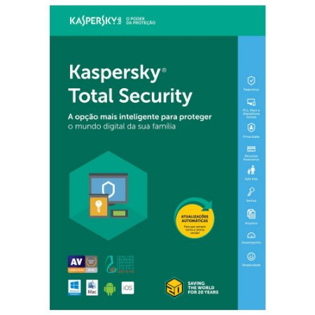 Kaspersky Total Security - 3 Dispositivos, 1 ano - 2021 - (Frete Grátis - Envio Digital)