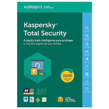 Kaspersky Total Security - 5 Dispositivos , 1 ano - 2020 - (Frete Grátis - Envio Digital)