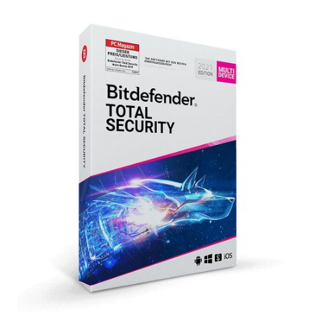 Bitdefender Total Security 2021 - 5 dispositivos, 1 ano (Frete Grátis - Envio Digital)
