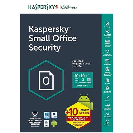 Kaspersky Small Office Security 7 - 10 dispositivos +10 grátis - 1 file Server + 10 Password Managers - 1 ano - (Frete Grátis - Envio Digital)