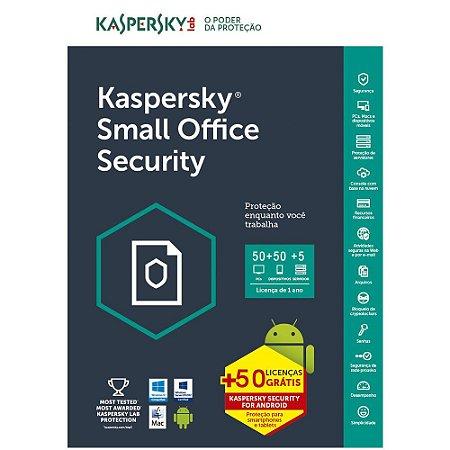 Kaspersky Small Office Security 7 - 50 Dispositivos + 50 Mobile + 5 Servidores + 50 Password Managers - 1 ano - (Frete Grátis - Envio Digital)