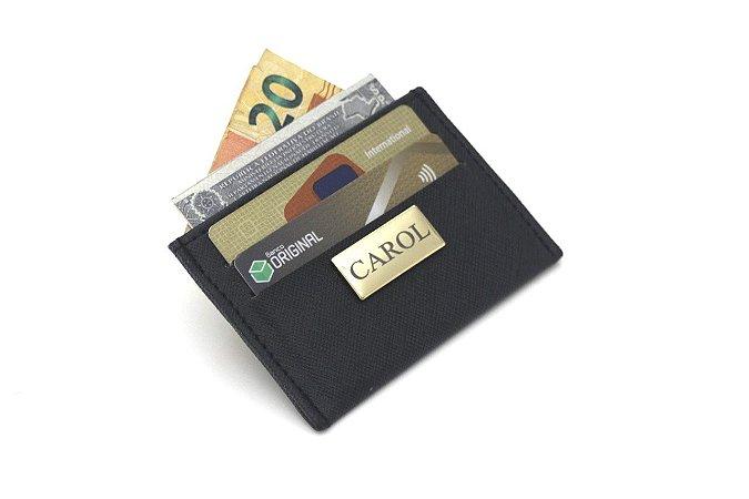 Carteira porta cartão preta personalizada
