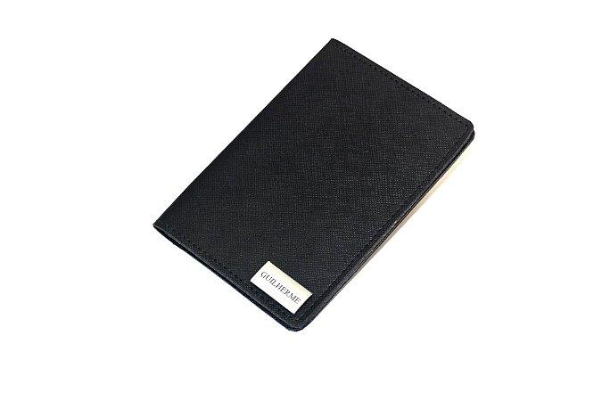 Porta passaporte individual preto personalizado