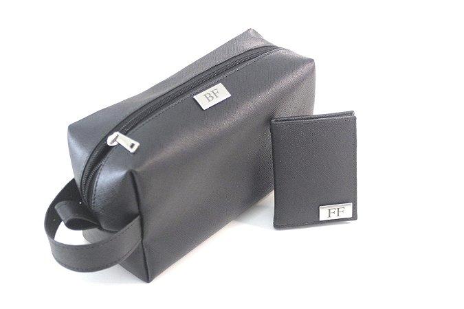 Kit necessaire + carteira preta personalizado