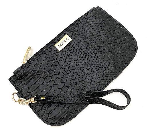 Bolsinha de mão croco preta personalizada