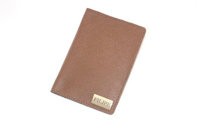 Porta passaporte individual caramelo personalizado