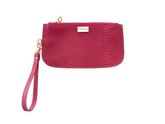 Bolsinha de mão croco pink personalizada