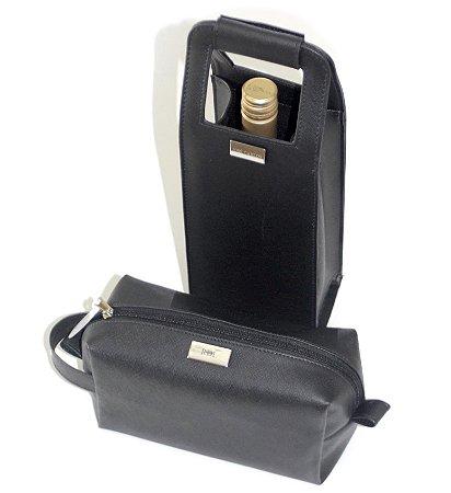 Porta vinhos + Necessaire prada preto personalizados