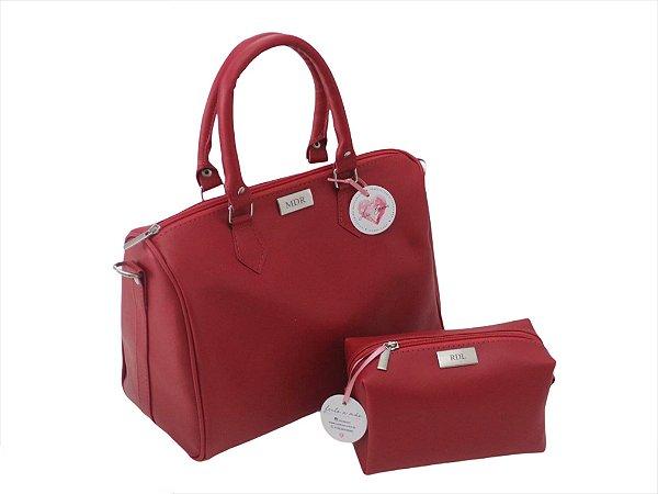 Bolsa baú + Necessaire vermelhas ferragens prata personalizadas (A necessaire é presente)