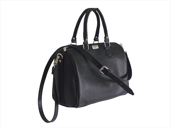 Bolsa baú + Necessaire preta ferragens prata personalizadas (A necessaire é presente)