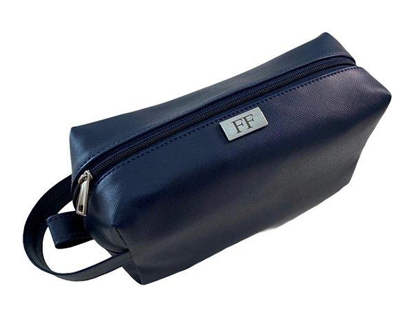 Necessaire alça lateral azul marinho com alça personalizada