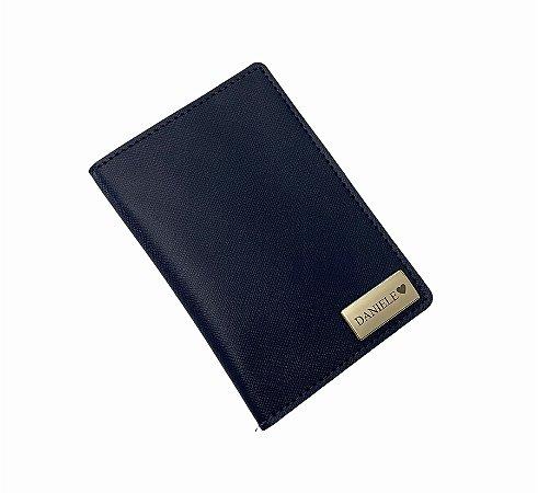 Porta passaporte individual azul marinho