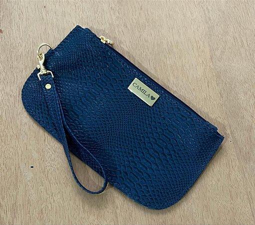 Bolsinha croco azul marinho personalizada