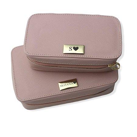 Kit 2 necessaires modelo Letícia tamanho P e M rosa blush