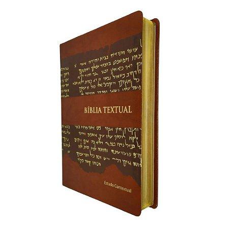 Btx Bíblia Textual Com Estudo Contextual - Marrom - BV Books