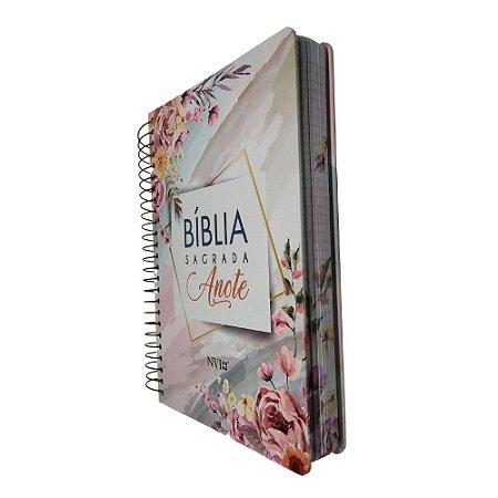 Bíblia Sagrada Espiral Anote NVI - Flores Aquarela