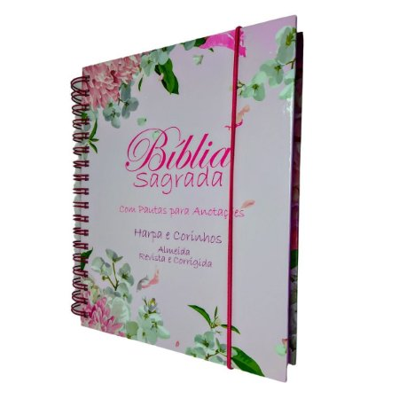 Bíblia Sagrada Anote Espiral ARC Com Harpa - Floral Dália