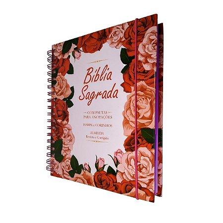 Bíblia Sagrada Anote Espiral ARC Com Harpa - Floral Rosa