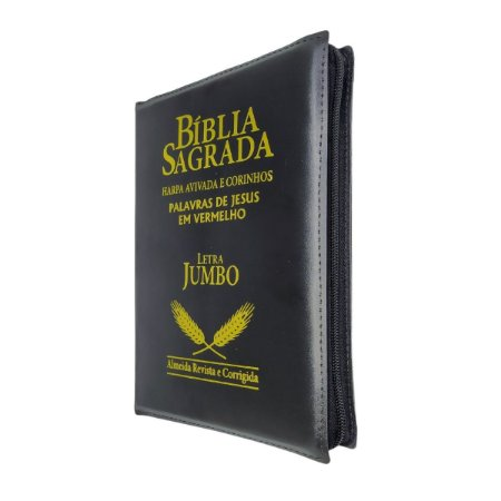 Bíblia Sagrada Letra Jumbo Com Harpa - Preta Zíper - Cpp