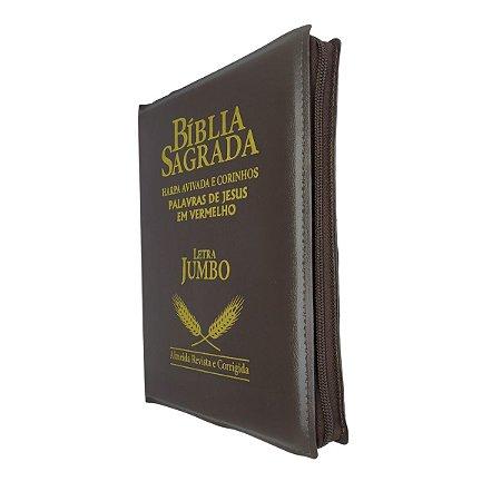 Bíblia Sagrada Letra Jumbo Com Harpa - Marrom Zíper - Cpp