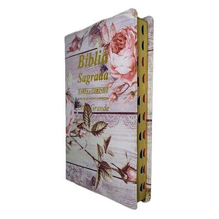 Bíblia Letra Grande Flores Rosas Com Harpa Ed Promessas