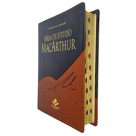 Bíblia De Estudo MacArthur - Preta Com Marrom Com Índice Sbb