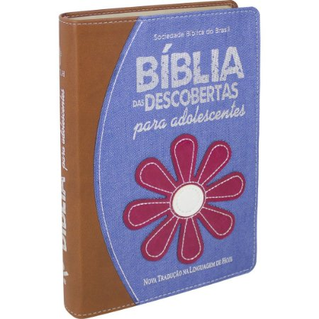 Biblia Das Descobertas Para Adolescentes - Marrom Com Jeans Flores - Sbb